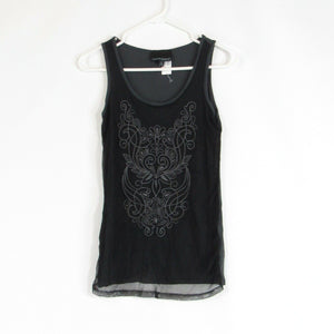 Black gray CYNTHIA ROWLEY tank top blouse S