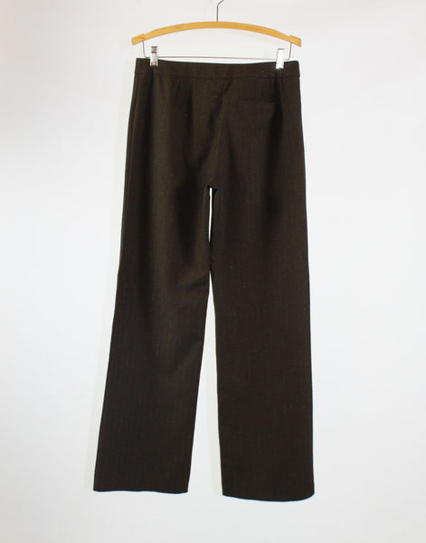 Brown multicolor pinstripe stretch shimmery CHICO'S dress pants 0 XS 4
