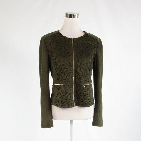 Olive green laser cut CARMEN MARC VALVO stretch long sleeve jacket 4