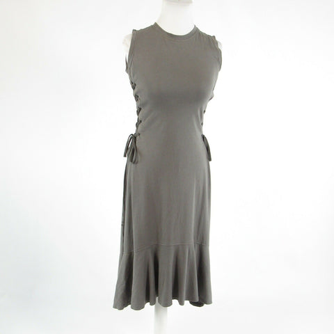 Gray 100% cotton VIOLET WEEKEND stretch sleeveless hi-lo dress S-Newish