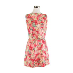 Light pink red floral print sleeveless vintage A-line dress S