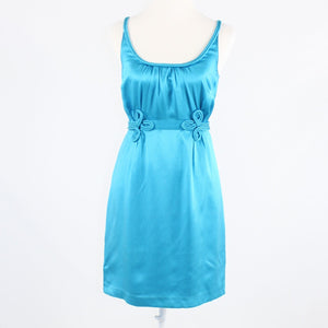 Turquoise blue textured silk BETH BOWLEY piping trim sleeveless dress 4