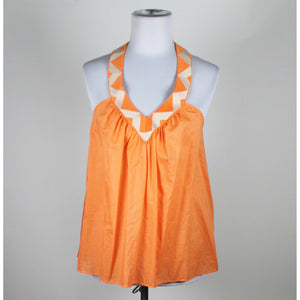 MODA INTERNATIONAL orange 100% cotton thin strap embroidered trim blouse XS-Newish