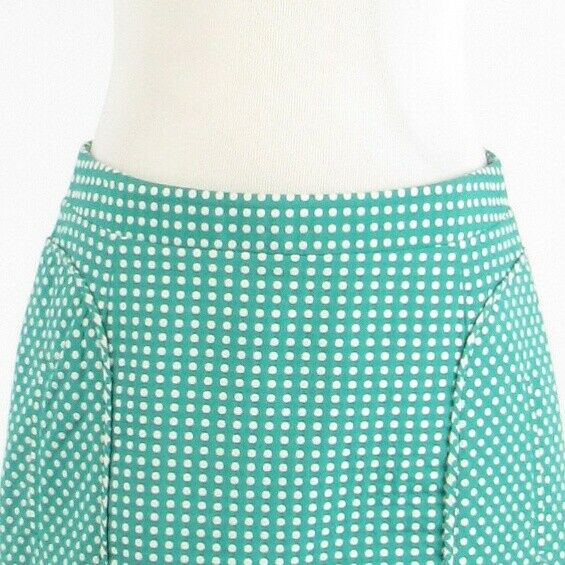 Teal green white polka dot cotton blend LAUNDRY BY SHELLI SEGAL A-line skirt 4-Newish