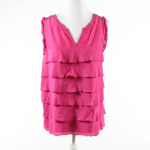 Dark pink cotton ANN TAYLOR LOFT sleeveless blouse S