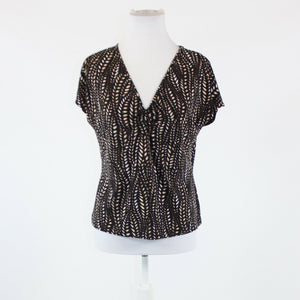 Black brown geometric stretch NINE WEST short sleeve v-neck blouse M