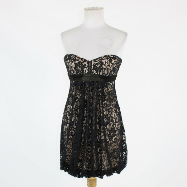 Black over ivory lace ALEXIA ADMOR strapless above knee bubble dress S-Newish