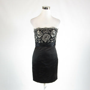 Black silver satin lace trim TIBI sleeveless sheath dress 2