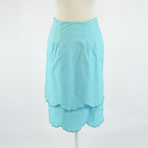 Turquoise blue cotton blend SHABBY APPLE stretch tiered skirt 6-Newish