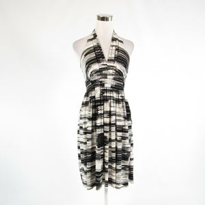 Black white space dyed CALVIN KLEIN sleeveless A-line dress 2-Newish