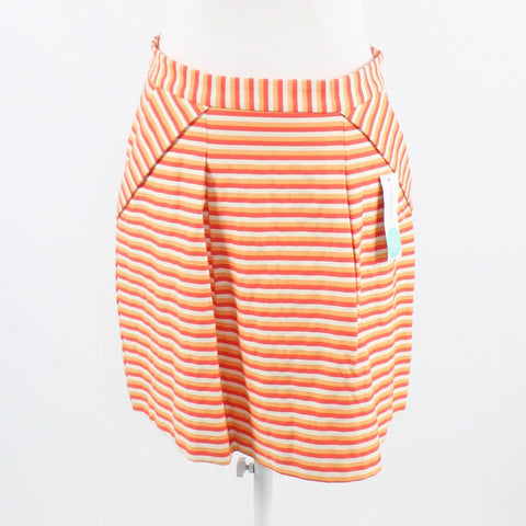 Coral orange ivory striped cotton blend PINK MARTINI A-line skirt M NWT