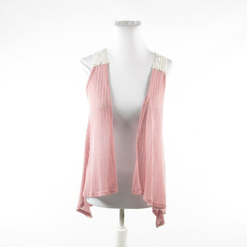 Pink ivory ANTHROPOLOGIE GINGER G semi-sheer sleeveless shrug sweater S
