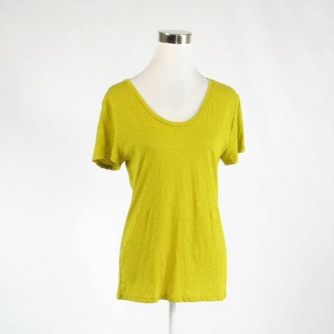 Mustard yellow 100% cotton ANN TAYLOR LOFT stretch short sleeve knit blouse S-Newish