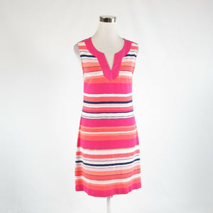 Coral orange pink uneven striped cotton blend TOMMY BAHAMA sheath dress S-Newish