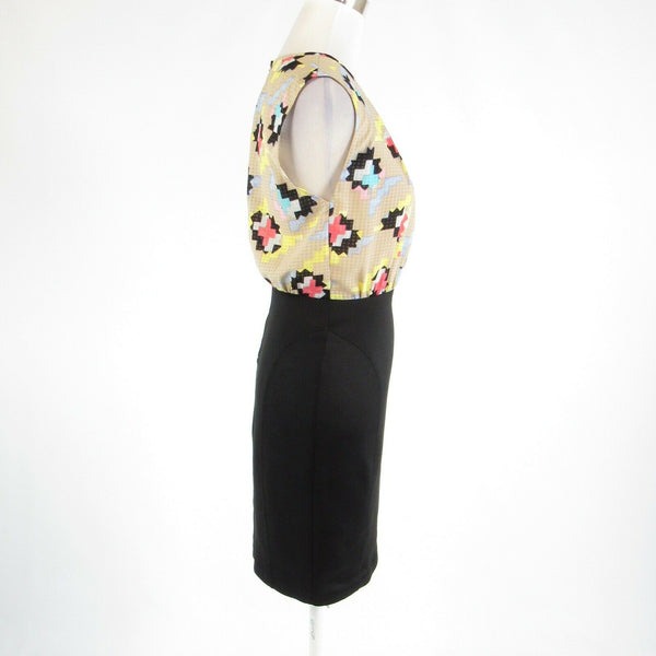 Black beige geometric RACHEL ROY stretch sleeveless sheath dress 4