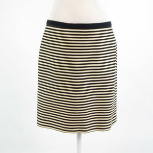 Beige black striped cotton blend ANN TAYLOR LOFT pencil skirt 10-Newish