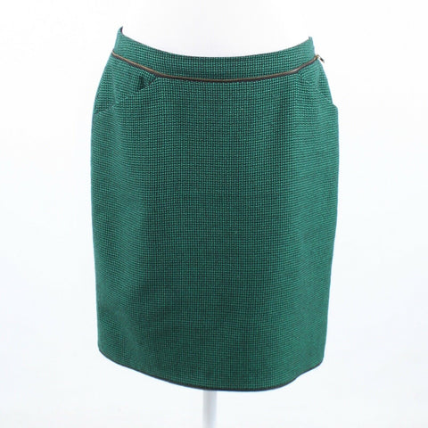 Dark green black basket weave print 100% wool ECCOCI pencil skirt 10-Newish