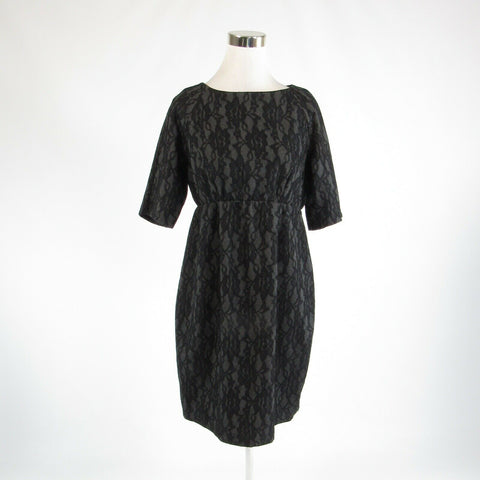 Gray black floral print lace JULES and JIM 1/2 sleeve empire waist dress XL