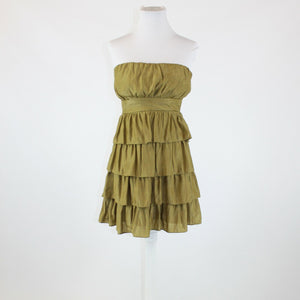 Olive green PAPAYA strapless above knee tiered dress L
