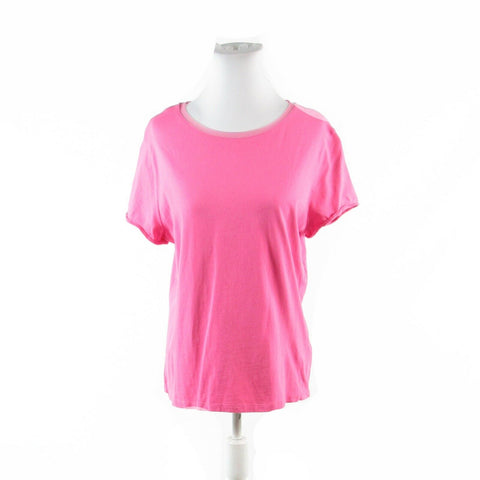 Bright pink 100% cotton SIGRID OLSEN stretch short sleeve blouse L