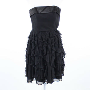 Black strapless WHITE HOUSE BLACK MARKET ruffled skirt tiered dress 00