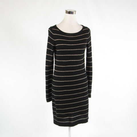 Black gold striped ANN TAYLOR LOFT stretch long sleeve sweater dress S