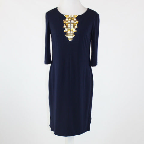 Navy blue stretch ANNE KLEIN 3/4 sleeve keyhole studded chest shift dress 2