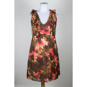 ANN TAYLOR LOFT brown pink olive green ivory floral sheath dress 4-Newish