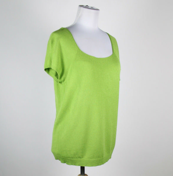 TALBOTS green rayon short sleeve square neck ribbed trim knit blouse M-Newish