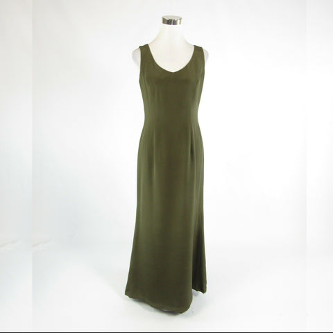 Olive green 100% silk NAEEM KHAN sleeveless maxi dress 8-Newish