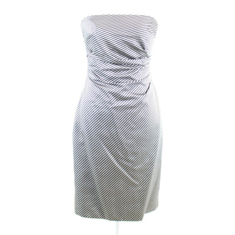 Charcoal gray black KAY UNGER sheath dress sz 4 diagonal striped 100% silk
