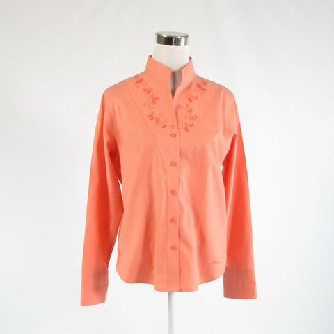Peach 100% cotton ORVIS embroidered trim long sleeve button down blouse 10-Newish