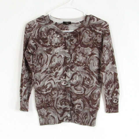 Cool brown gray floral print cotton blend TALBOTS cardigan sweater P