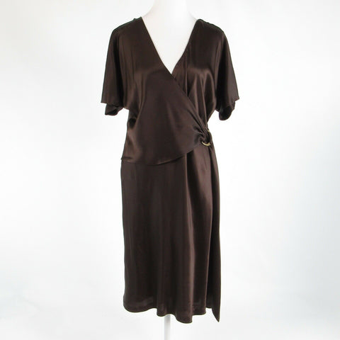 Brown satin DIANE VON FURSTENBERG short batwing sleeve faux wrap dress 14