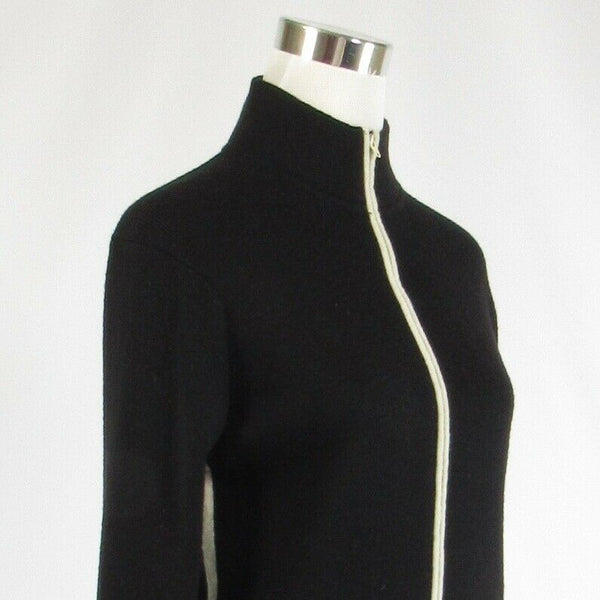Black wool blend MAGASCHONI Exposite zip front long sleeve cardigan sweater S-Newish
