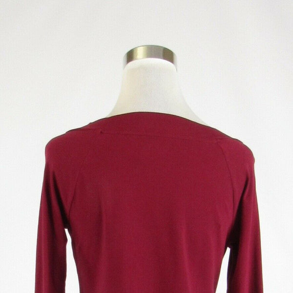 Maroon red cotton blend ANN TAYLOR LOFT stretch long sleeve knit blouse M-Newish