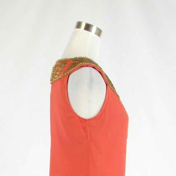 Coral orange gold 100% silk SINGLE beaded sheer overlay sleeveless sun dress S-Newish