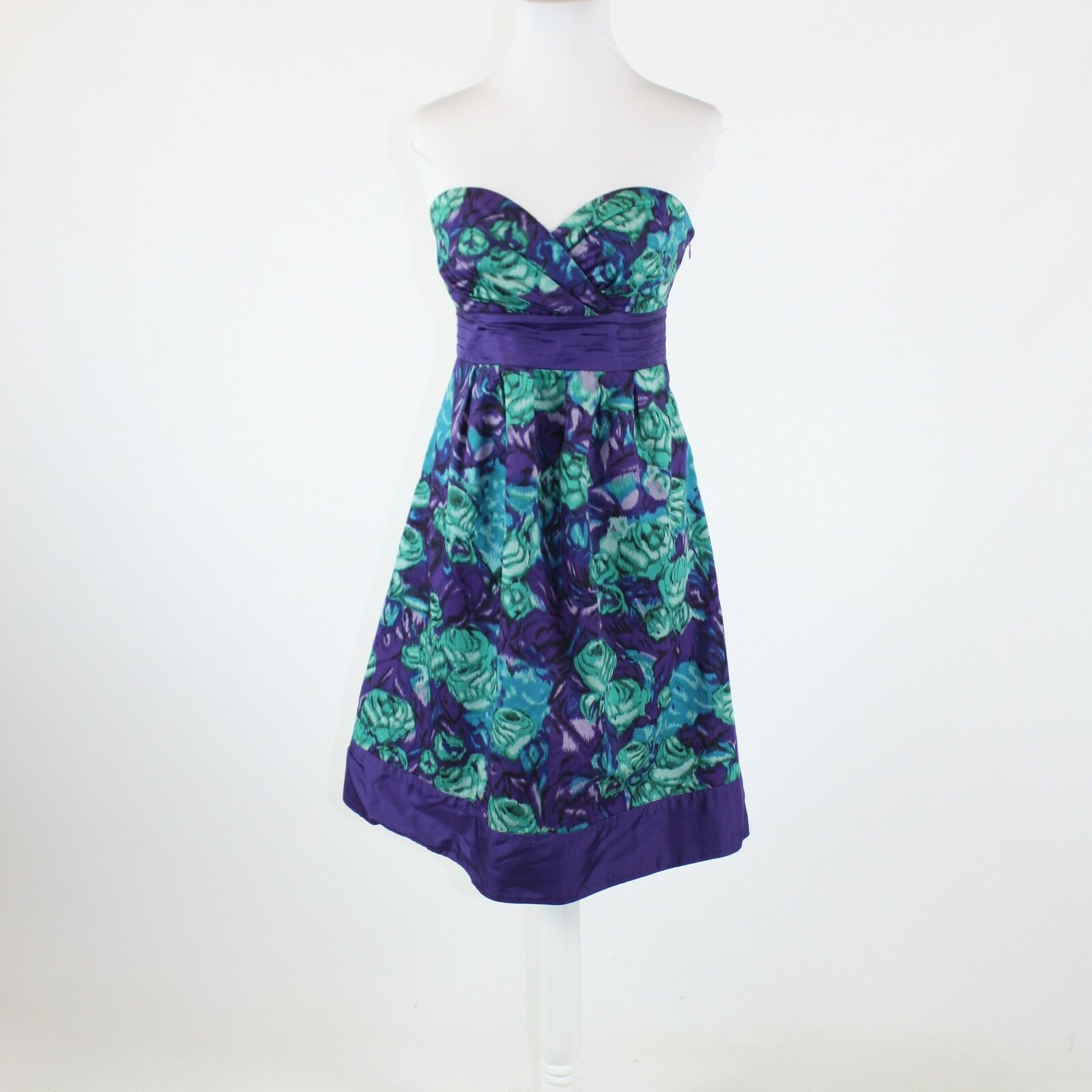 Purple green abstract floral 100% cotton ANTHROPOLOGIE MOULINETTE SOEURS dress 4