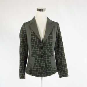 Gray polka dot cotton blend ANNI KUAN long sleeve blazer jacket 8-Newish