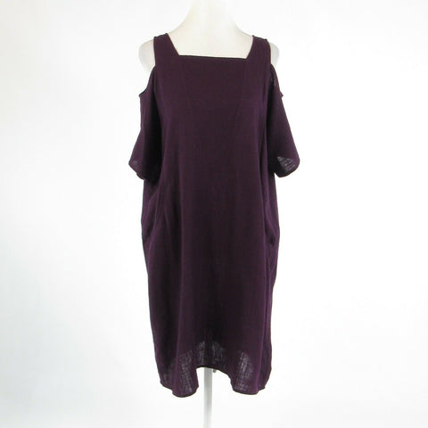 Dark purple linen blend SOFT SURROUNDINGS short batwing sleeve shift dress PL