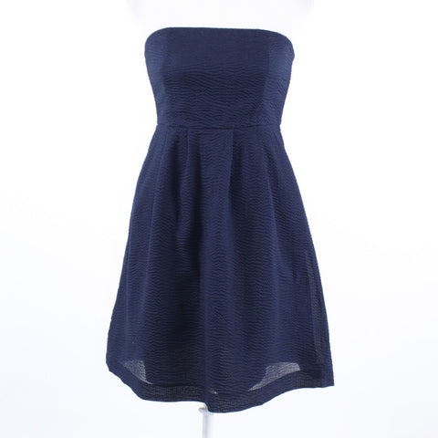 Navy blue seersucker 100% cotton J. CREW strapless empire waist dress 2P