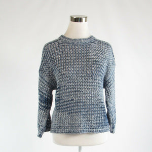 Blue ombre cotton blend MASSIMO DUTTI 3/4 sleeve crewneck sweater XS