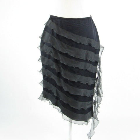 Charcoal gray pinstripe GIORGIO ARMANI tiered skirt S