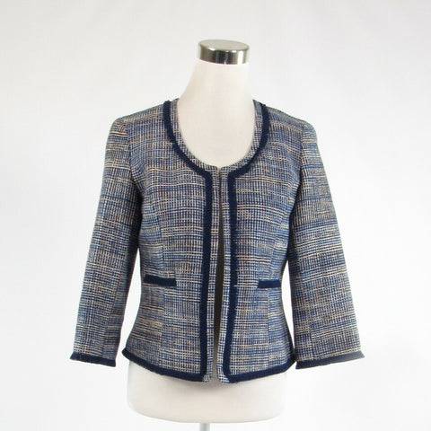 Navy blue geometric 100% silk DONCASTER open front 3/4 sleeve blazer jacket 4-Newish