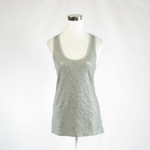 Heather gray silver cotton blend DKNY JEANS sleeveless tank top blouse S