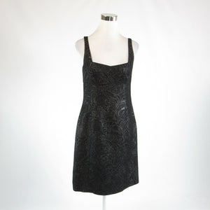 Black silver floral print ELIE TAHARI shimmery sleeveless sheath dress 8