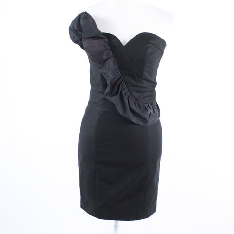 Black stretch cotton FRENCH CONNECTION ruffled trim strapless wiggle dress 2