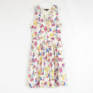 White pink floral print BANANA REPUBLIC A-line dress 10