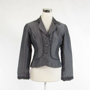 Gray 100% silk KAY UNGER long sleeve blazer jacket 4-Newish