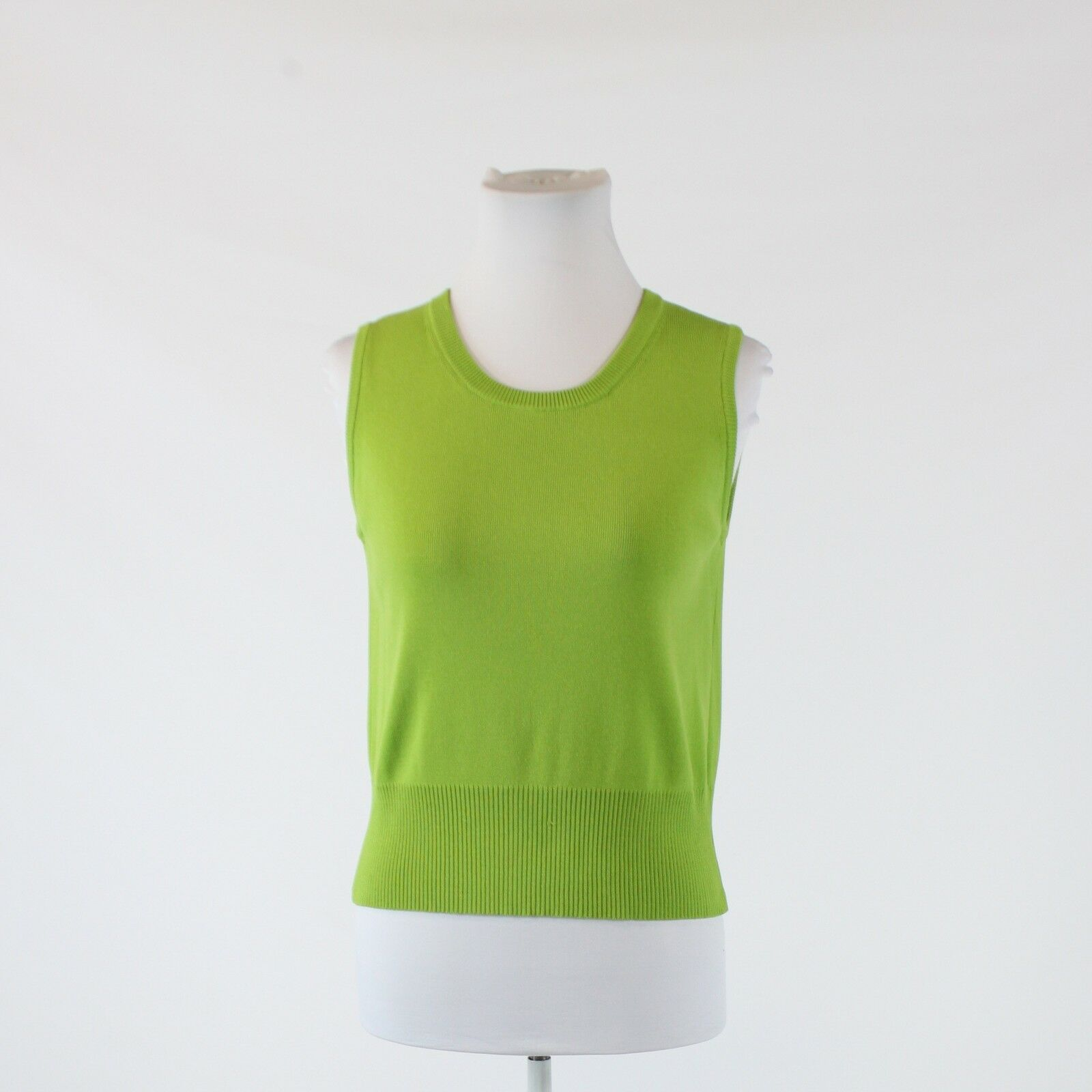 Green stretch JOSEPH A. scoop neck ribbed trim sleeveless sweater vest L